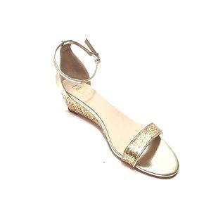 Anthropolgie Billy Ella Gold Glitter/Leather Wedge